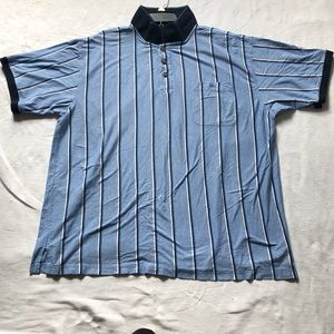 GANT men's blue and white striped polo shirt.